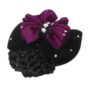 Rosallini Lady Dark Fuchsia Black Flower Embellished Bowknot Hair Clip