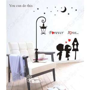 Decor Removable Decal Sticker   Kissing Children Under the Moon Baby