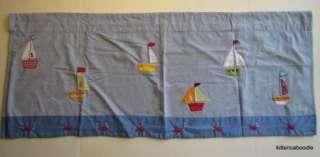 Pottery barn Kids Baby Boats Boy Nursery Window Valance Blue Sail