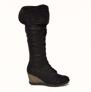 WOMENS LADIES LACE UP FASHION WEDGE BOOTS WITH FUR COLLAR UK SIZE 3 4