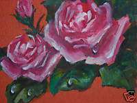 ACEO Garden Pink Rose flower floral print of painting
