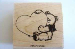 Stempin Up Rubber Stamp Bear Holding Big Heart