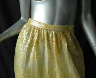 HALSTON *VINTAGE* Sequined Tank Top+Skirt Set Outfit S