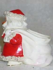 Vtg Christmas Lefton Ceramic Spaghetti Santa Planter