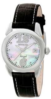 Angel Diamond Accented MOP Dial Swiss Black Leather Strap Watch