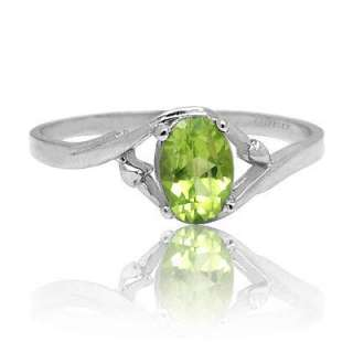 6X4mm Oval Cut Green Peridot 925 Sterling Silver Ring