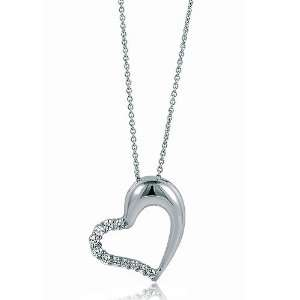 Zirconia CZ Open Heart Pendant   Womens Necklaces Jewelry Jewelry