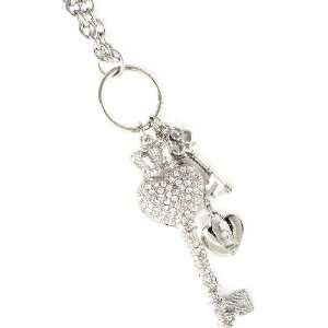 Silver Tone Key and Heart Charm Necklace Jewelry
