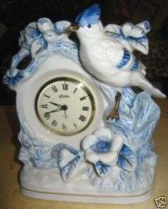 VINTAGE LINDEN ALARM CLOCK, BLUE/WHITE W BIRD & FLOWERS