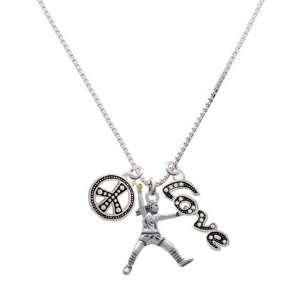 Large Softball Pitcher, Peace, Love Charm Necklace [Jewelry] Jewelry