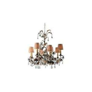 Chart House Small Crystal Petal Chandelier in Rust with Gold Leaf by