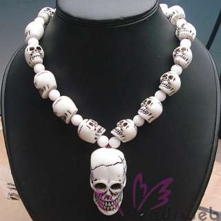 Tibetan Bone Carved 33P Skull Prayer Beads Necklace 28