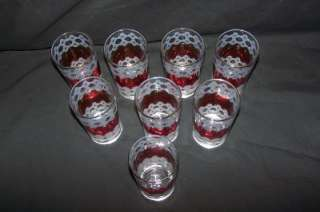 Lot Of 7 Red/White Glasses Gold Trim