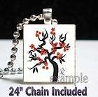cherry blossoms tree sakura scrabble tile pendant necklace or keychain