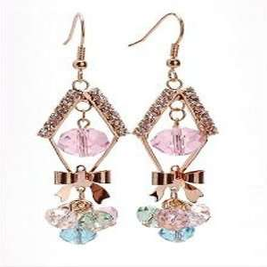 Rose Gold Plated Pink Faceted Crystal Bow Dangling
