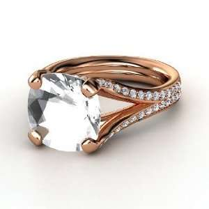 Ring, Cushion Rock Crystal 14K Rose Gold Ring with Diamond Jewelry