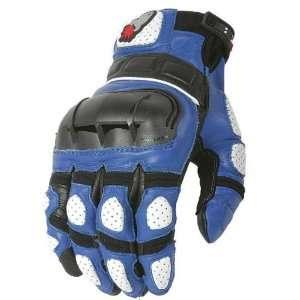 Joe Rocket Mens Supermoto Blue and Black Leather motorcycle gloves