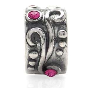 rose pink crystal sterling silver charms bead lock bk0057165