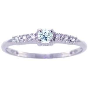 Gold Petite Round Gemstone and Diamond Promise Ring Aquamarine, size8
