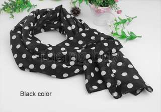 Fashion Chiffon Neck Shawl Scarf Retro Black White Dots
