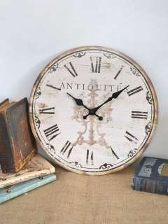 Shabby Cottage Chic Paris Antiquites Small Wall Clock