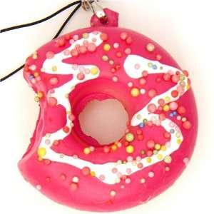 pink donut squishy charm with colourful sprinkles Toys