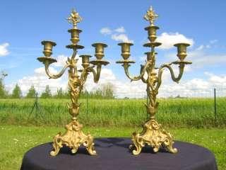 Superb PAIR od Antique 19th C. French LOUIS XV CANDELABRA CANDELSTICKS