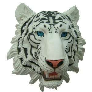 Natural ing White Tiger Head Bust Wall Hanging