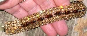 VINTAGE JULIANA AMBER ROOT BEER PRONG SET RHINESTONES 7  BRACELET