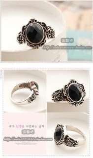 Fashion Ancient Magic Mirror Black Stone Retro Style Ring New #23