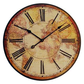 Antique Mantle Style LARGE OLD WORLD MAP WALL CLOCK Wooden Mount New