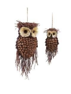 Set 12 Rustic Owl Pine Cone Christmas Ornaments