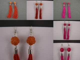 carved rose rosette bead extra Long fringe tassel earrings dangle