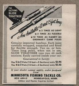 1951 Vintage Ad Minnesota Fishing Tackle Co Bamboo Pole Slides