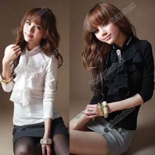 Frilled High Collar Tops Blouse T shirts Sweet Rhinestone 2 Colors