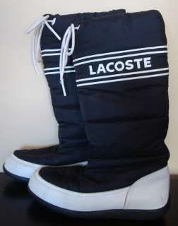LACOSTE Womens BLACK BOOTS Logo SIZE 8 Winter SNOW BOOTS PAIR