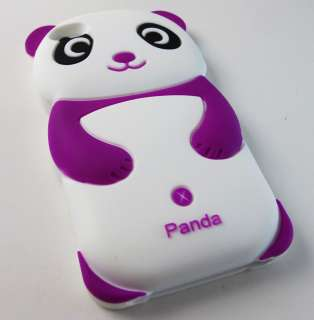 Cute Purple Panda Bear Soft Silicone Rubber Skin Case For APPLE iPhone