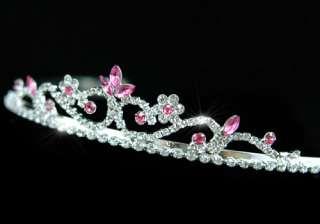 Pink Crystal Flower Prom Bridal Wedding Tiara T1201