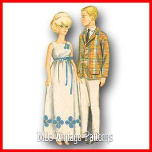Wedding Dress Patterns on Vtg 1960s Barbie   Ken Doll Clothes Pattern   Dress  Suit  Beach  Swim