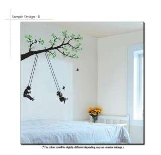 TREE & SWING Nursery Chidrens Wall Decor Sticker Decal