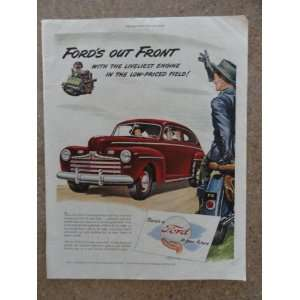 com 1946 Ford,Vintage 40s full page print ad (red car/motorcycle cop