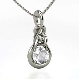 Knot Pendant, Round Rock Crystal Sterling Silver Necklace Jewelry