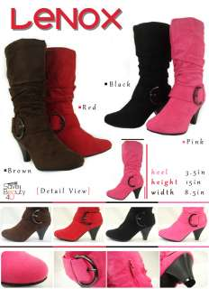 Winter Faux Suede Slouchy Knee Tall Heel Boots Shoes  Lenox