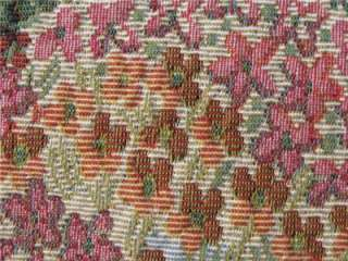 Upholstery Tapestry fabric trees flowers pinks green blue Countryside