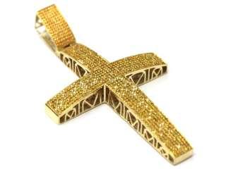 10K YELLOW GOLD CANARY DIAMOND MENS HIP HOP CROSS PENDANT EARRING NEW