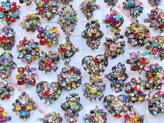 wholesale of 25 pieces Multi colored Rhinestone rings