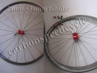 24mm tubular front wheel + 38mm tubular rear wheel carbon wheelset