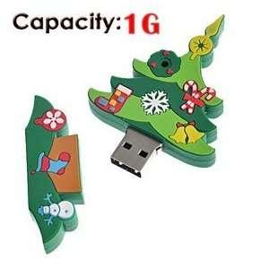 1G Rubber USB Flash Drive with Christmas Tree Shape (Big