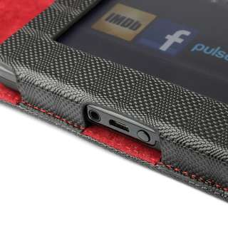 Kindel Fire Check Pattern leather case with Red Interior