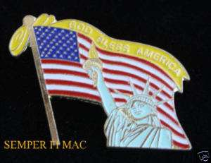 GOD BLESS AMERICA HAT PIN FLAG 911 NY STATUE OF LIBERTY